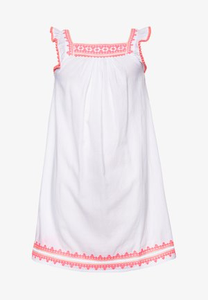GIRLS EMBROIDERED FLUTTER SLEEVE DRESS - Day dress - white
