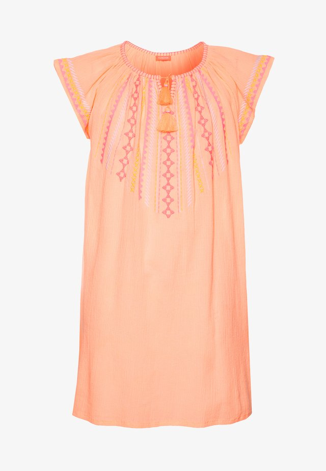 GIRLS EMBROIDERED CHEESECLOTH DRESS - Akcesoria plażowe - neon peach