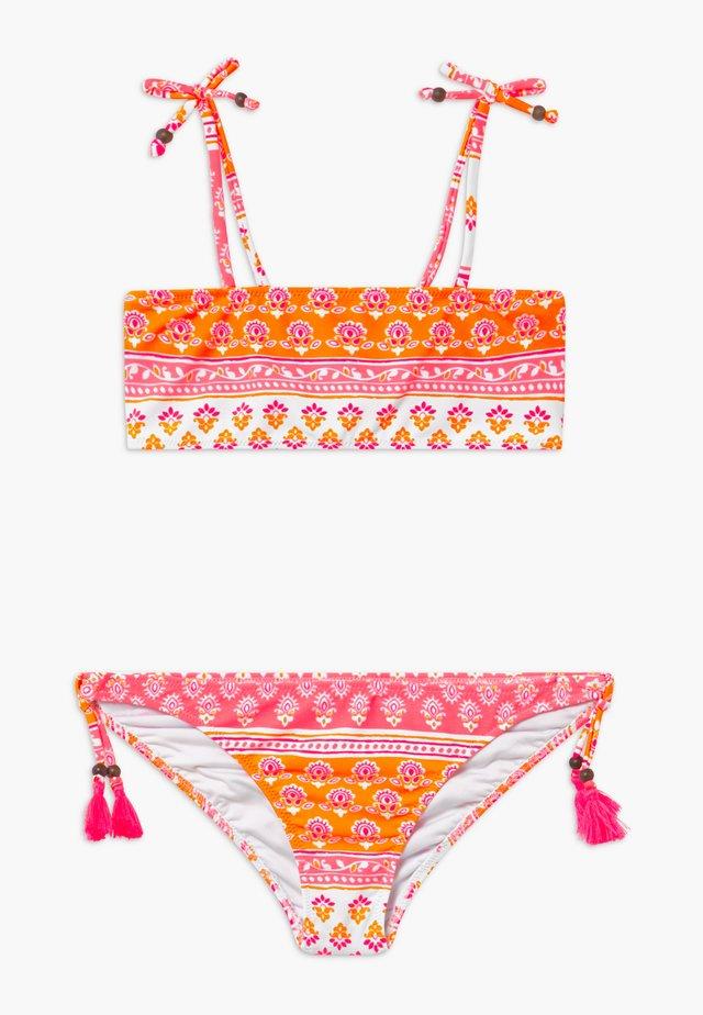 GIRLS BLOCK PRINT BANDEAU SET - Bikini - sherbert pink