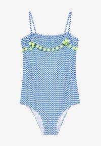 Sunuva - GIRLS BLUE ZIG ZAP POM POM FRILL - Kostium kąpielowy - blue - 3
