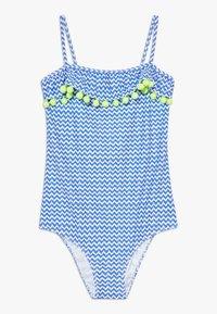 Sunuva - GIRLS BLUE ZIG ZAP POM POM FRILL - Kostium kąpielowy - blue - 0