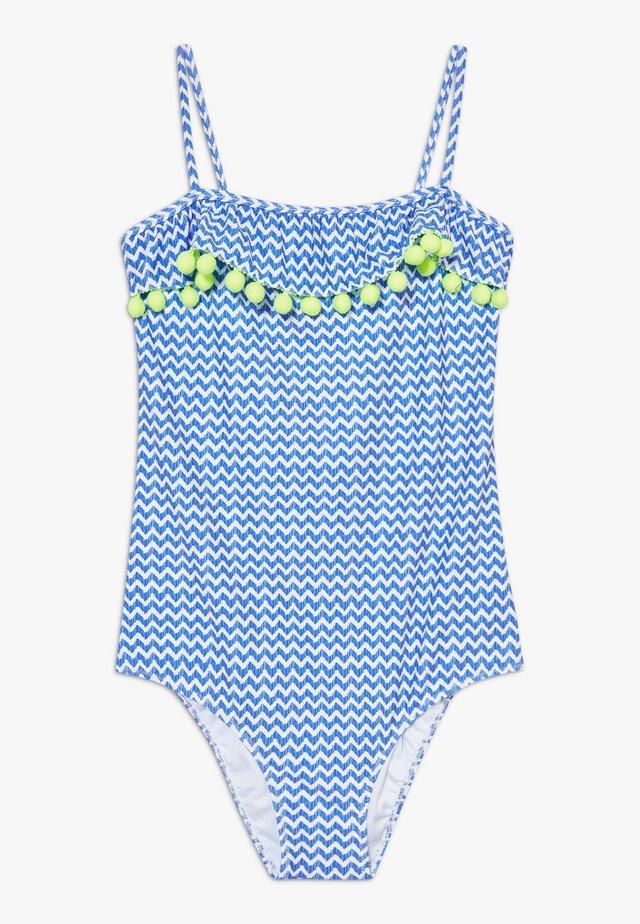 GIRLS BLUE ZIG ZAP POM POM FRILL - Kostium kąpielowy - blue