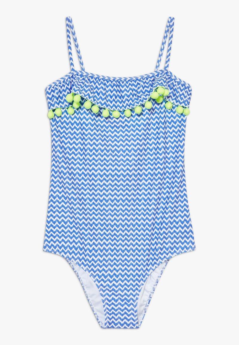 Sunuva - GIRLS BLUE ZIG ZAP POM POM FRILL - Kostium kąpielowy - blue