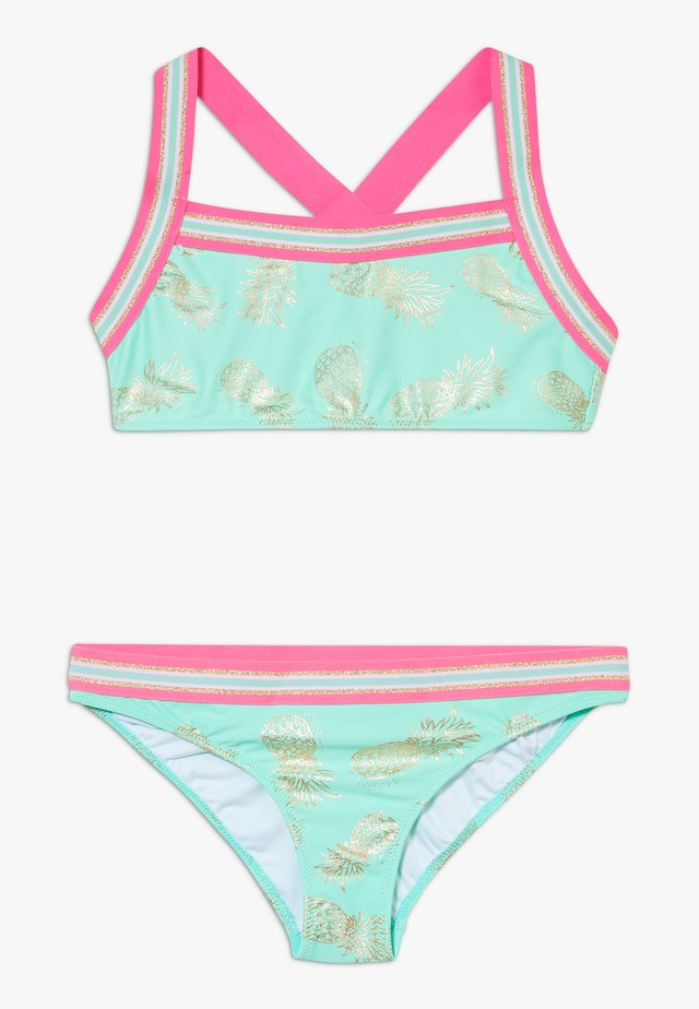 GIRLS PINEAPPLE GLITTER TRIM CROSS BACK SET - Bikini - pastel green