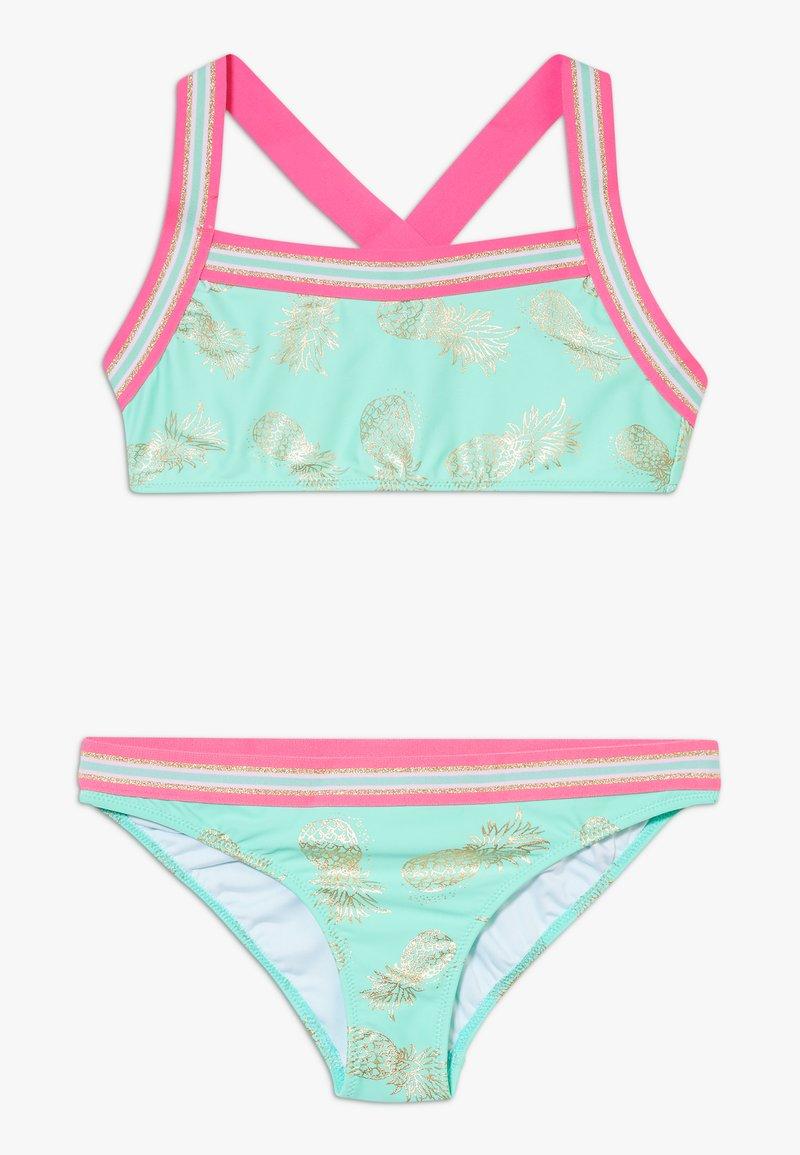 Sunuva - GIRLS PINEAPPLE GLITTER TRIM CROSS BACK SET - Bikiny - pastel green