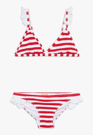 GIRLS STRIPE TRIANGLE FRILL STRAP SET - Bikinier - red