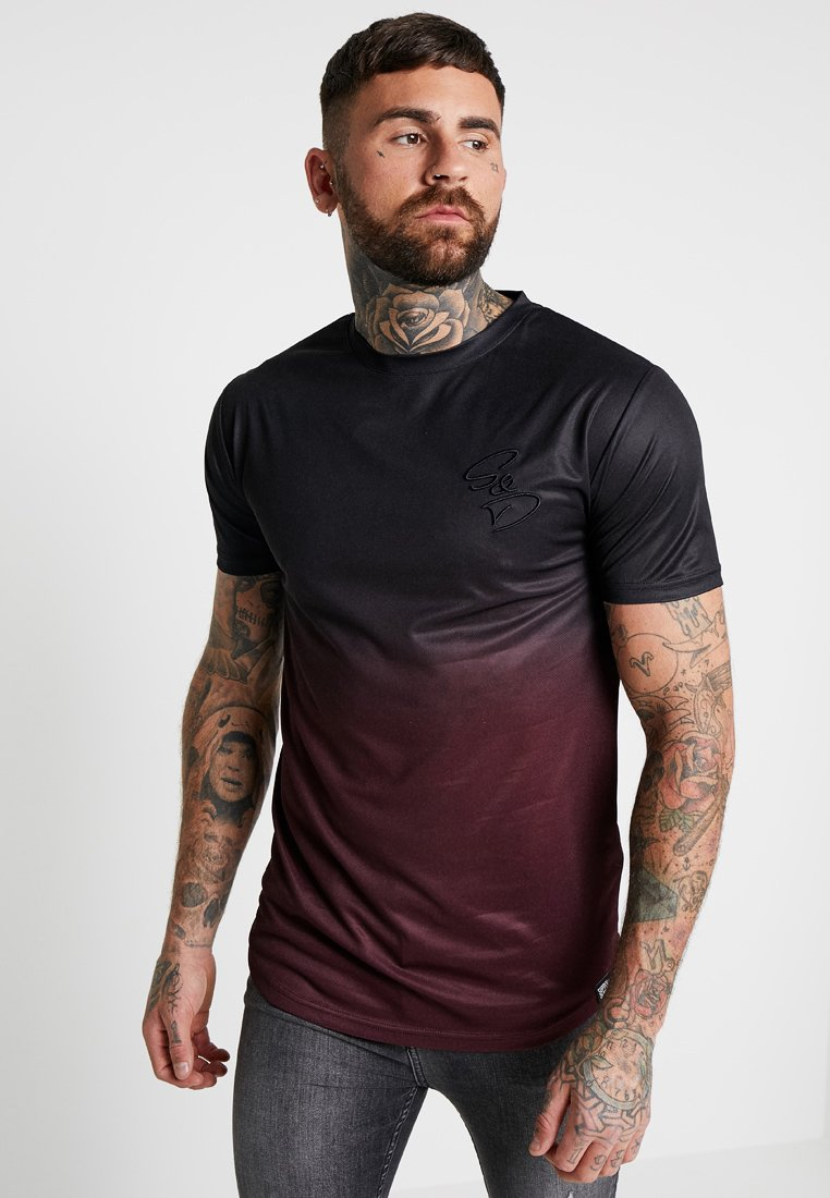 Supply & Demand - SOURCE TEE - Camiseta básica - black/burgundy