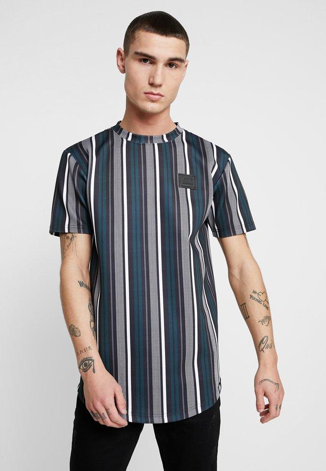 DIVISION TEE - T-shirt med print - black/white/teal