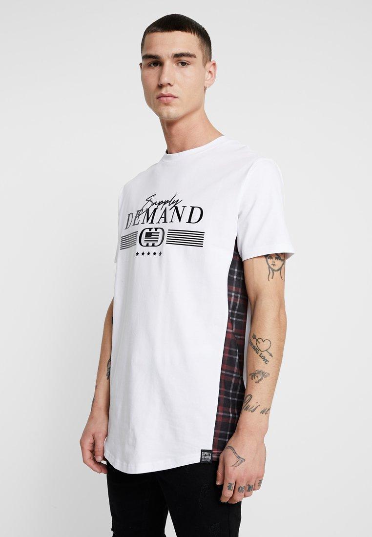 Supply & Demand - PANEL CHECK TEE - Print T-shirt - white