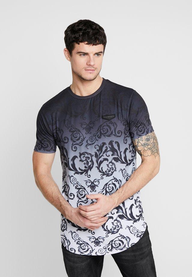 DÉCOR - T-shirt print - black/white fade