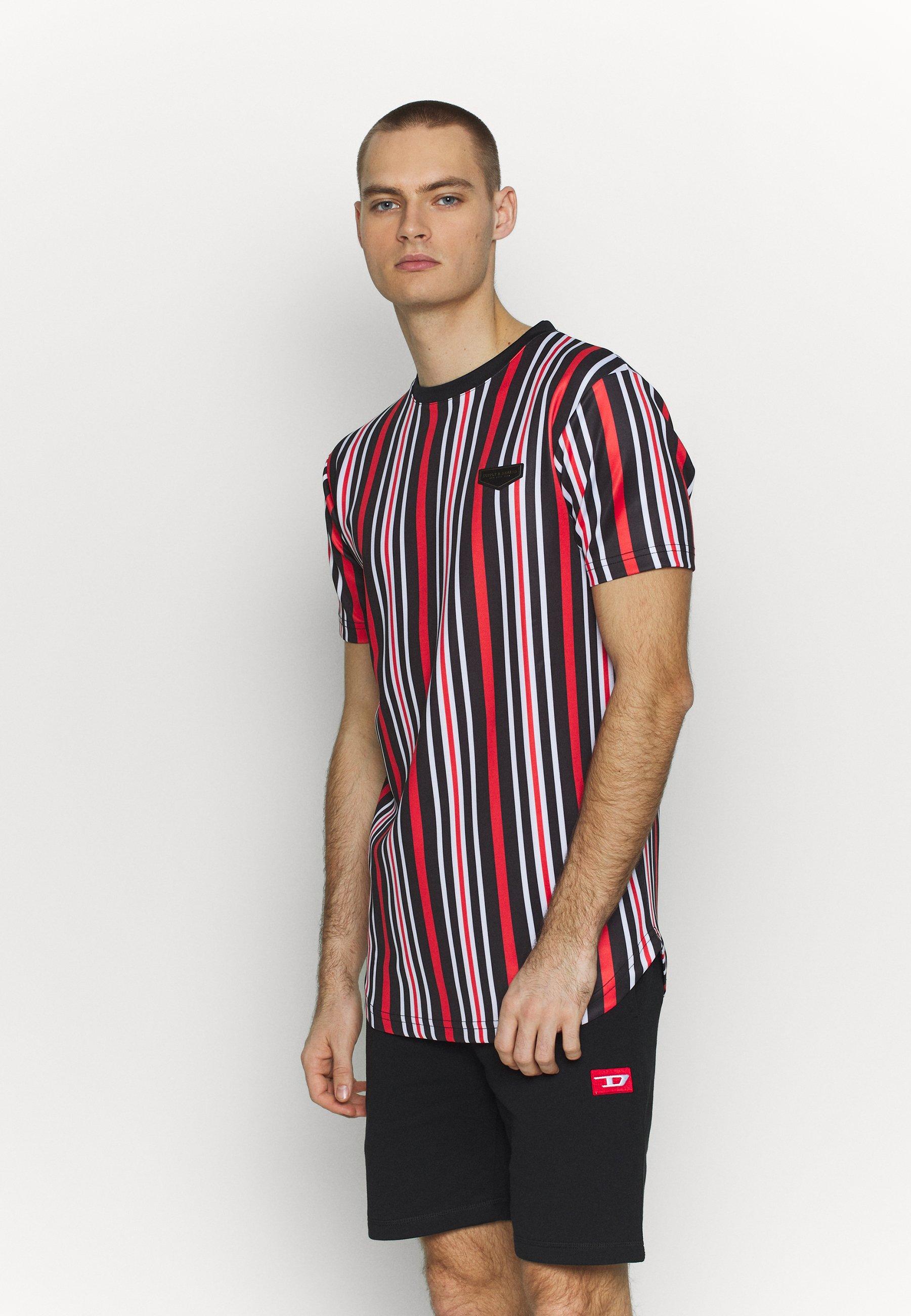 Supply & Demand PIN VERTICAL STRIPE - T-shirt med print - black/red - Herrkläder Rabatter