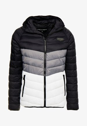 EXPLORE COLOUR BLOCK PADDED JACKET - Chaqueta de entretiempo - black/white/grey