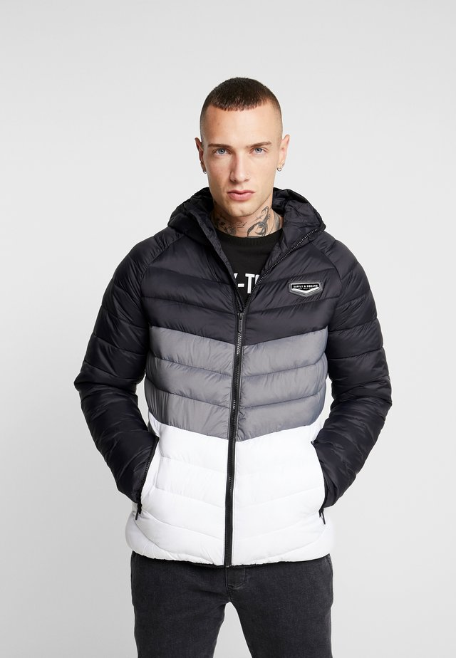 EXPLORE COLOUR BLOCK PADDED JACKET - Kurtka przejściowa - black/white/grey