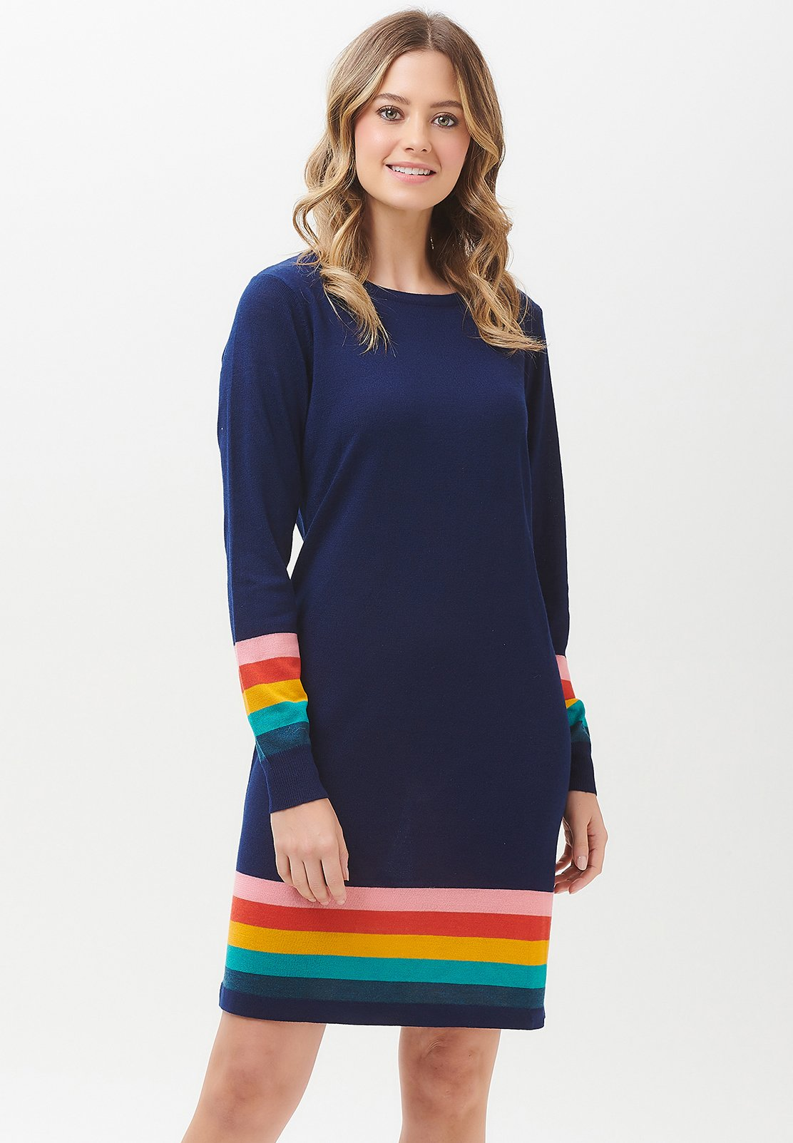 Sugarhill Brighton Evie Summer Stripe Knit Dress - Sukienka Dzianinowa Navy