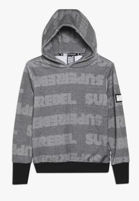 SuperRebel - BOYS HOODED TEKST ALL OVER - Mikina s kapucí - black - 0
