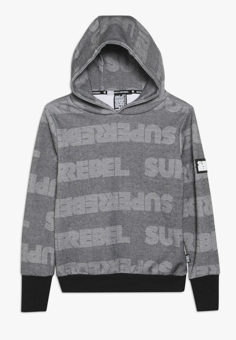 SuperRebel - BOYS HOODED TEKST ALL OVER - Mikina s kapucí - black