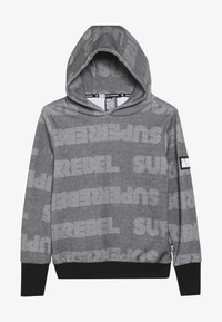 SuperRebel - BOYS HOODED TEKST ALL OVER - Mikina s kapucí - black - 3