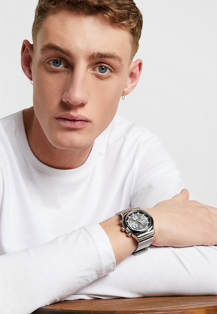 Swatch - TV TIME - Hodinky se stopkami - silver-coloured