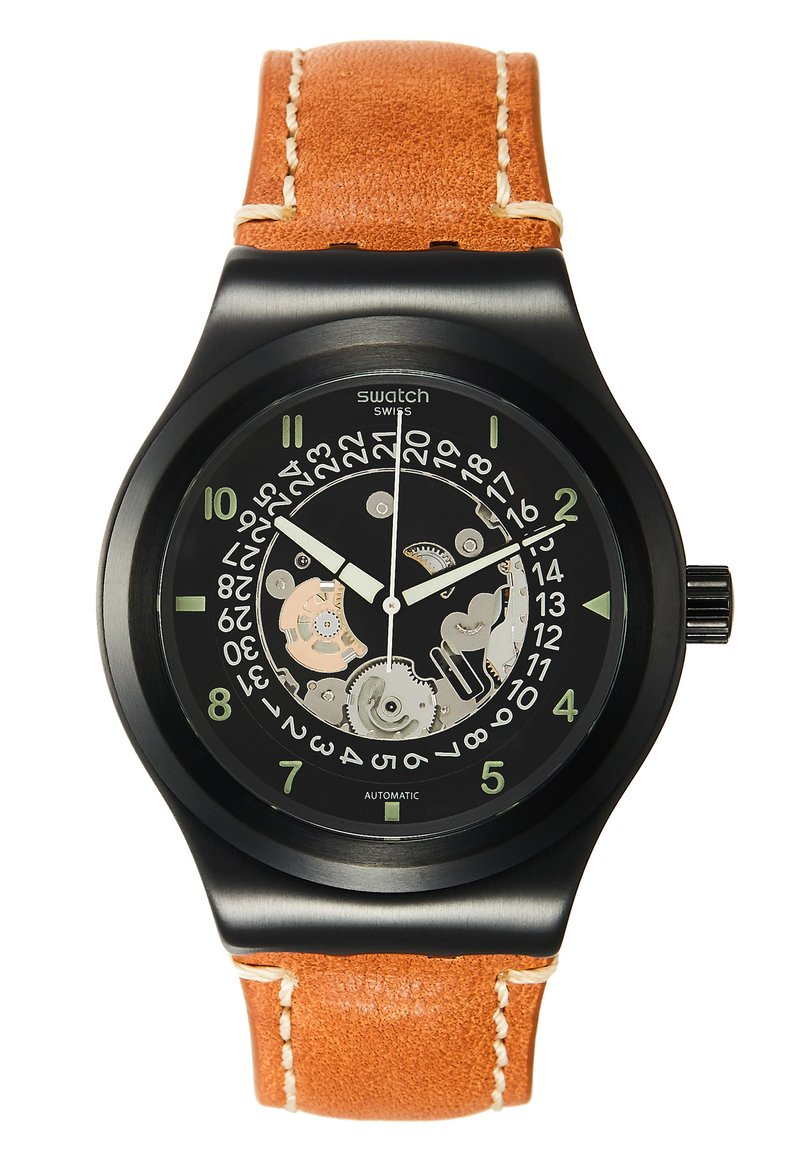 Swatch - SISTEM THOUGHT - Watch - black/cognac