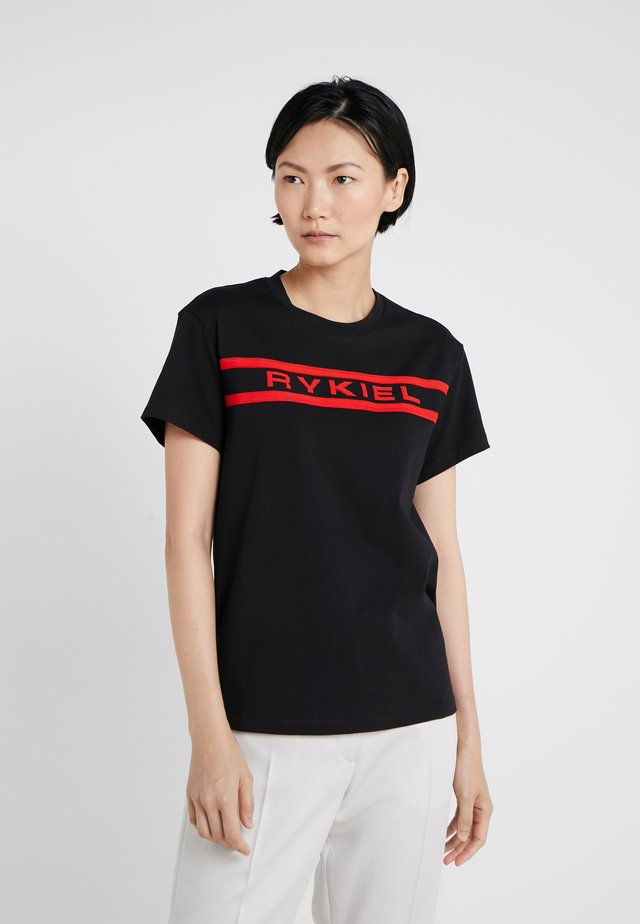 Print T-shirt - noir/carmin