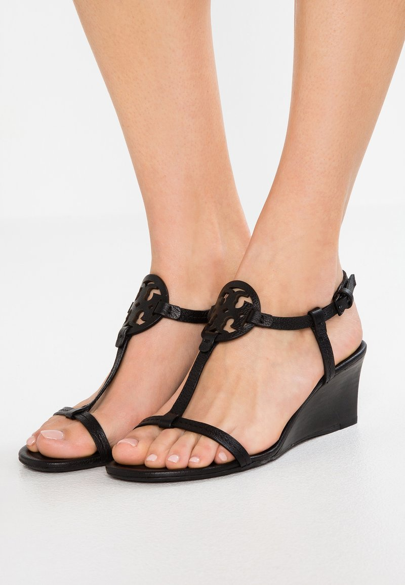 Tory Burch - MILLER WEDGE - Wedge sandals - perfect black