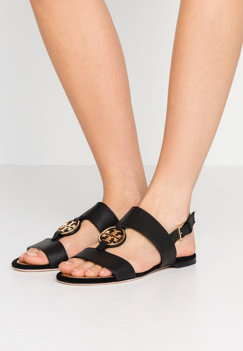 Tory Burch - METAL MILER TWO BAND  - Sandály - perfect black/gold