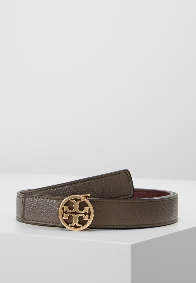 Tory Burch - REVERSIBLE LOGO BELT - Cinturón - silver maple/claret