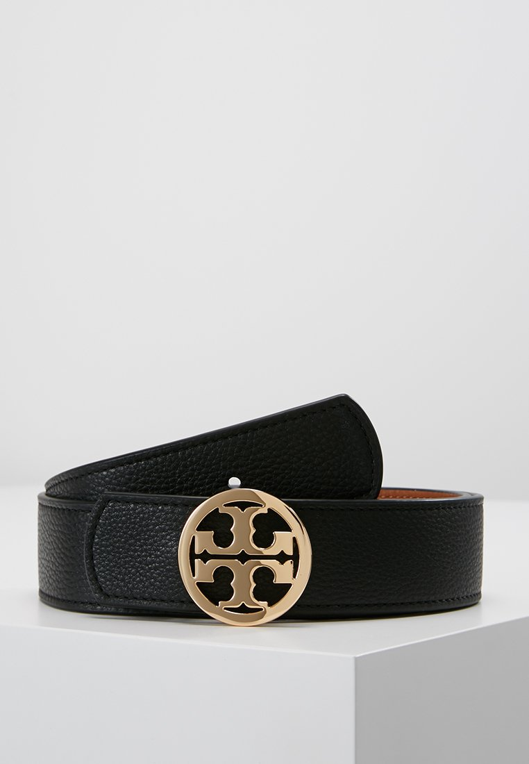 Tory Burch - REVERSIBLE LOGO - Belt - black/saddle