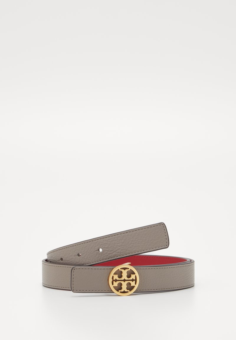 Tory Burch - REVERSIBLE LOGO BELT - Cintura - gray heron/red apple
