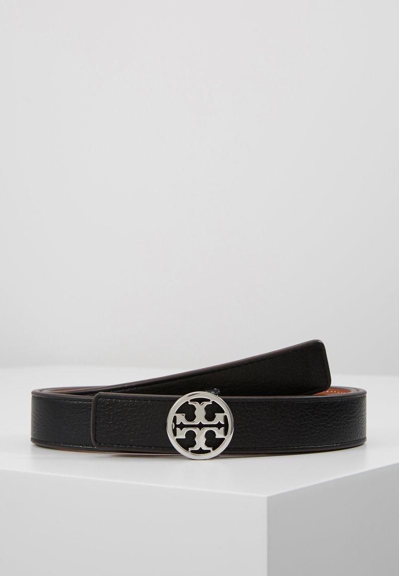 Tory Burch - REVERSIBLE LOGO BELT - Belt - black/silver-coloured