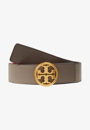 REVERSIBLE LOGO BELT - Riem - gray heron/red apple/gold-coloured