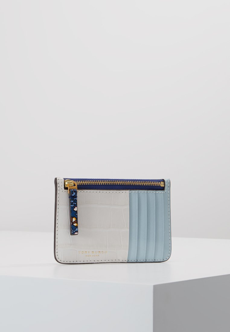 Tory Burch - COLOR BLOCK TOP ZIP CARD CASE - Punge - blue wild pansy