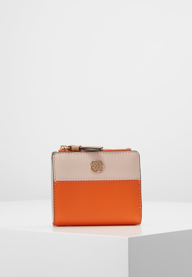 Tory Burch - ROBINSON COLORBLOCK MINI WALLET - Peněženka - orange juice/shell pink