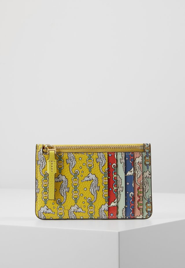 PERRY PRINTED TOP ZIP CARD CASE - Punge - yellow