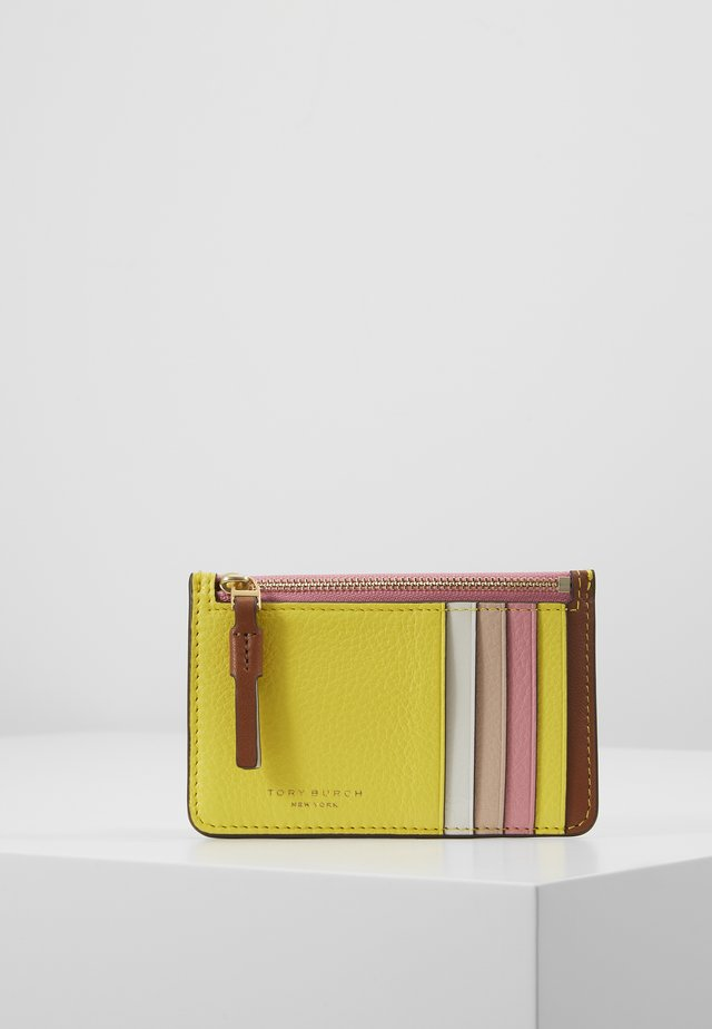 PERRY COLOR BLOCK TOP ZIP CARD CASE - Lompakko - goan sand/electric yellow/pink city