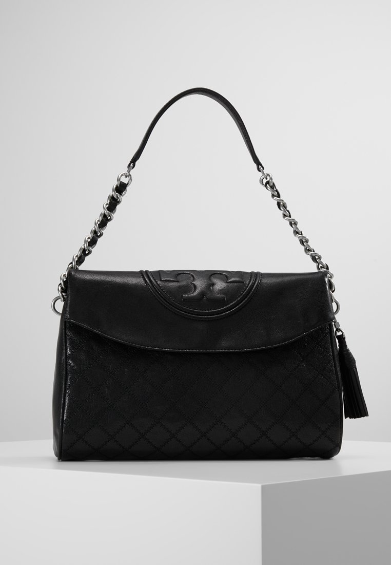 Tory Burch - FLEMING DISTRESSED FOLD OVER  - Handtasche - black