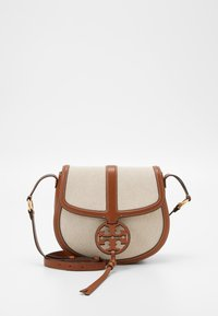 Tory Burch - MILLER QUADRANT SADDLEBAG - Across body bag - classic cuoio - 0
