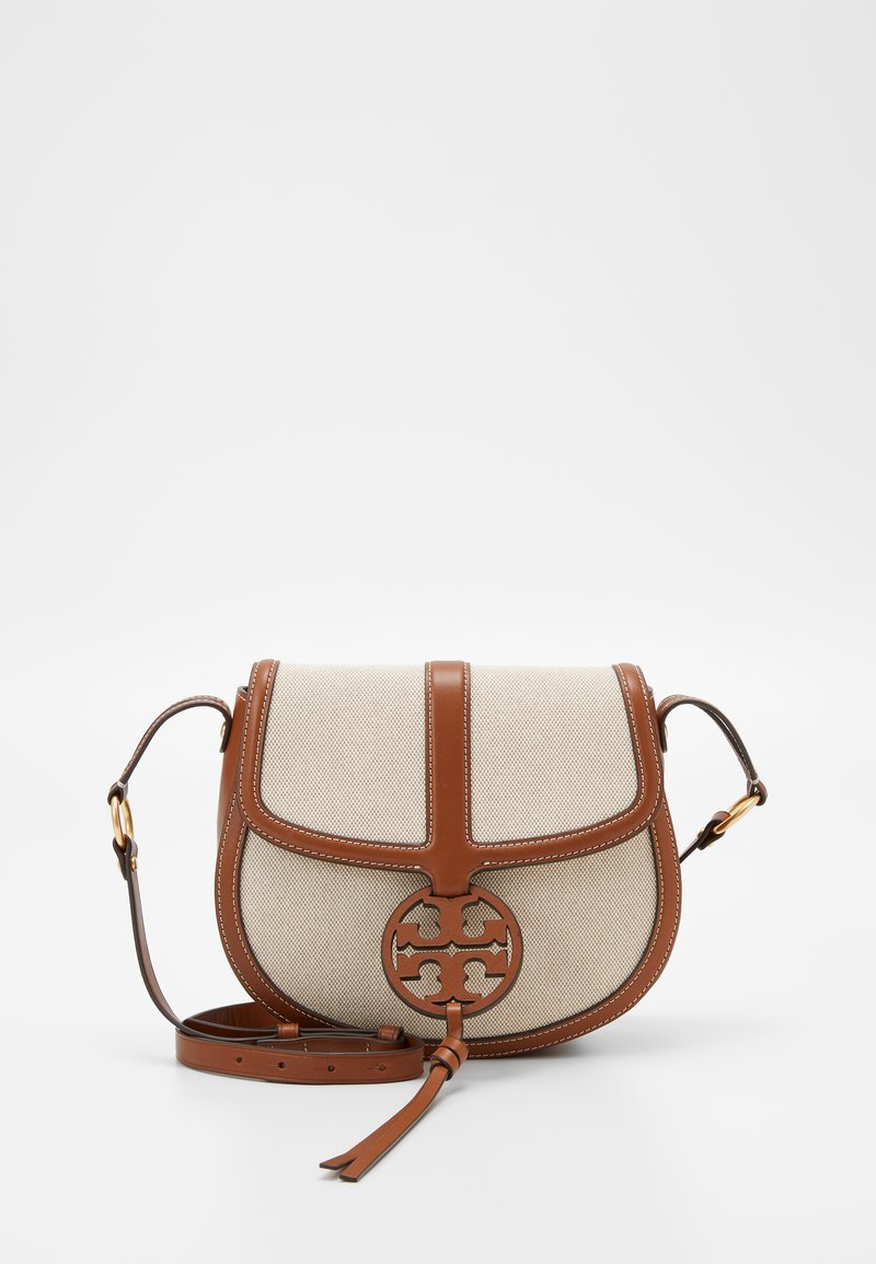 Tory Burch - MILLER QUADRANT SADDLEBAG - Across body bag - classic cuoio