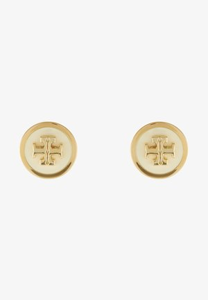 LACQUERED RAISED LOGO STUD - Oorbellen - new ivory / tory gold-coloured