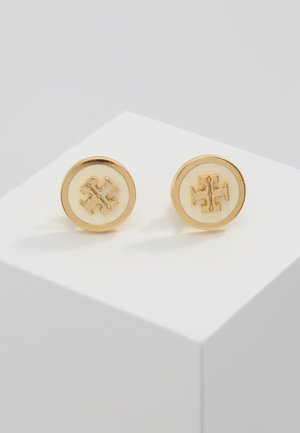 LACQUERED RAISED LOGO STUD - Kolczyki - new ivory / tory gold-coloured