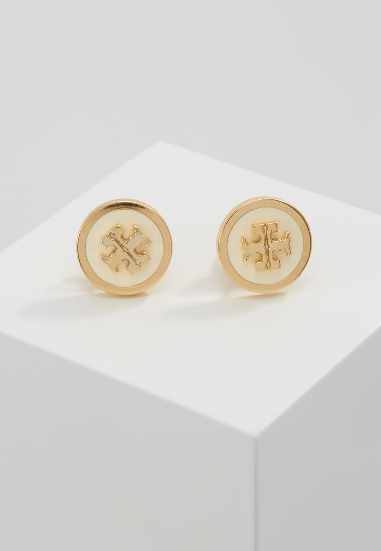 Tory Burch - LACQUERED RAISED LOGO STUD - Örhänge - new ivory / tory gold-coloured