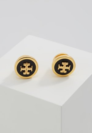 LACQUERED RAISED LOGO STUD - Orecchini - black / tory gold-coloured