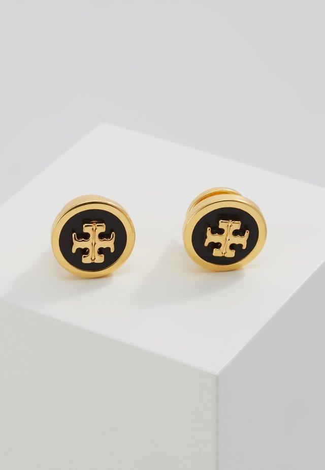 LACQUERED RAISED LOGO STUD - Øreringe - black / tory gold-coloured