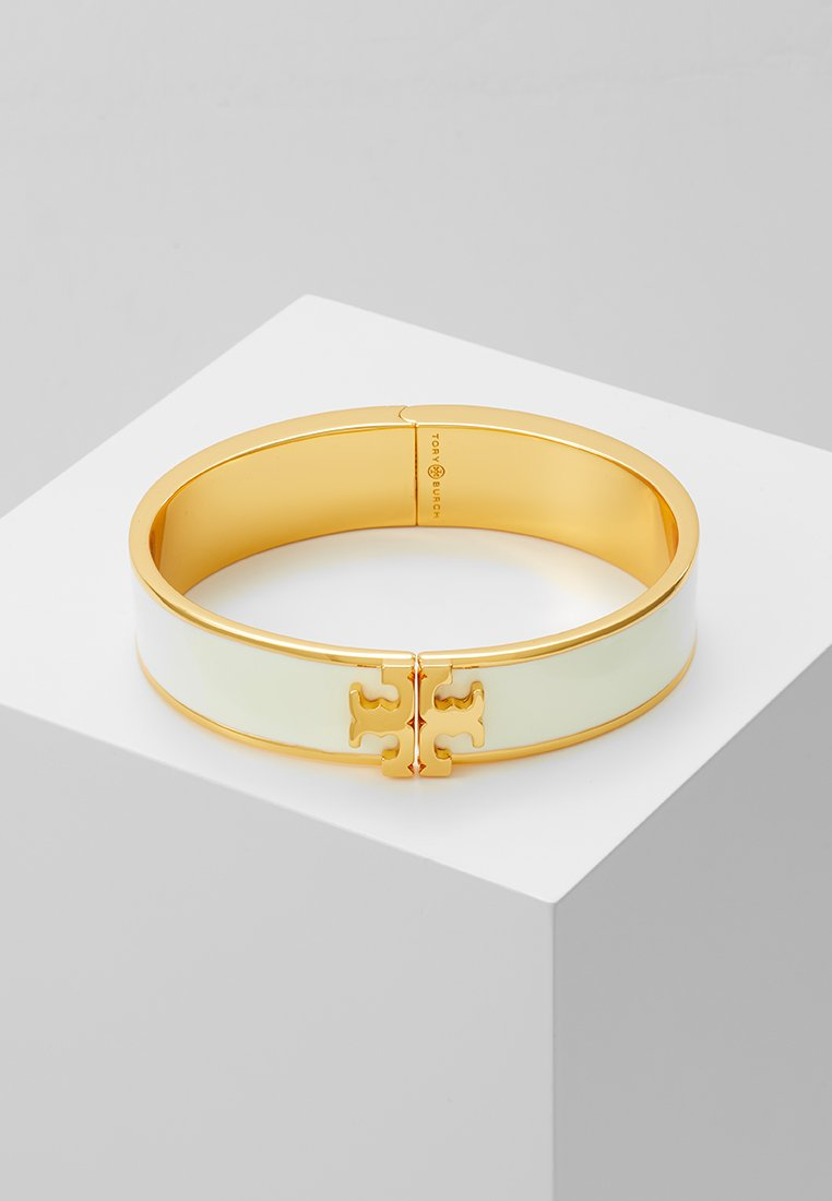 Tory Burch - RAISED LOGO THIN HINGED BRACELET - Armband - ivory/gold-coloured