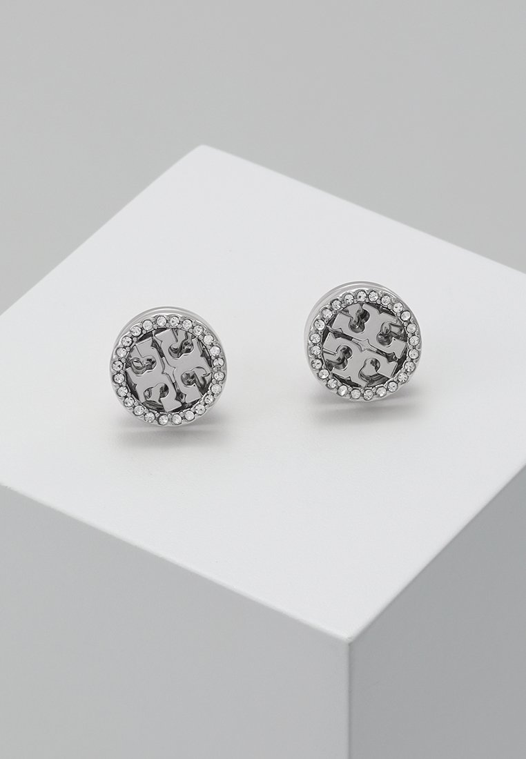Tory Burch - LOGO CIRCLE  EARRING - Örhänge - silver/crystal