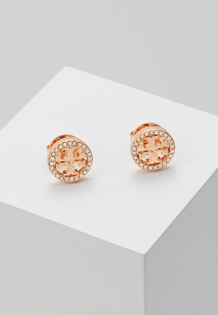 Tory Burch - LOGO CIRCLE  EARRING - Oorbellen - rose gold-coloured