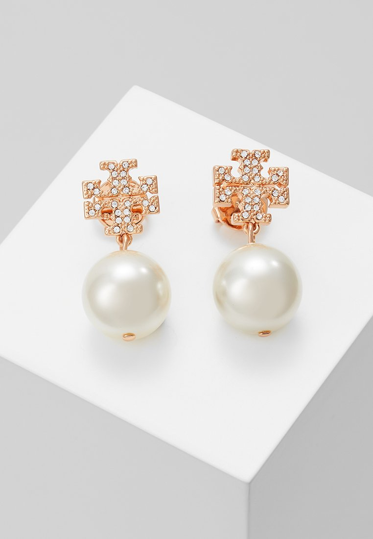 Tory Burch - LOGO DROP EARRING - Pendientes - rose gold-coloured