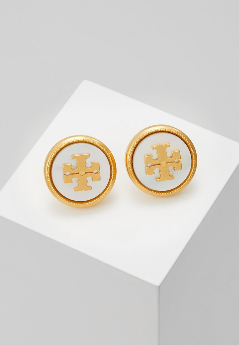 Tory Burch - SEMI PRECIOUS STUD EARRING - Øreringe - vintage gold-coloured