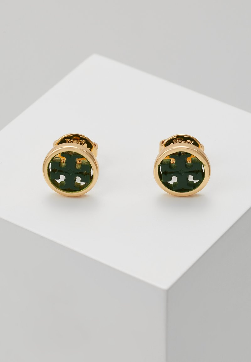 Tory Burch - MILLER CIRCLE EARRING - Pendientes - gold-coloured/equestrian green