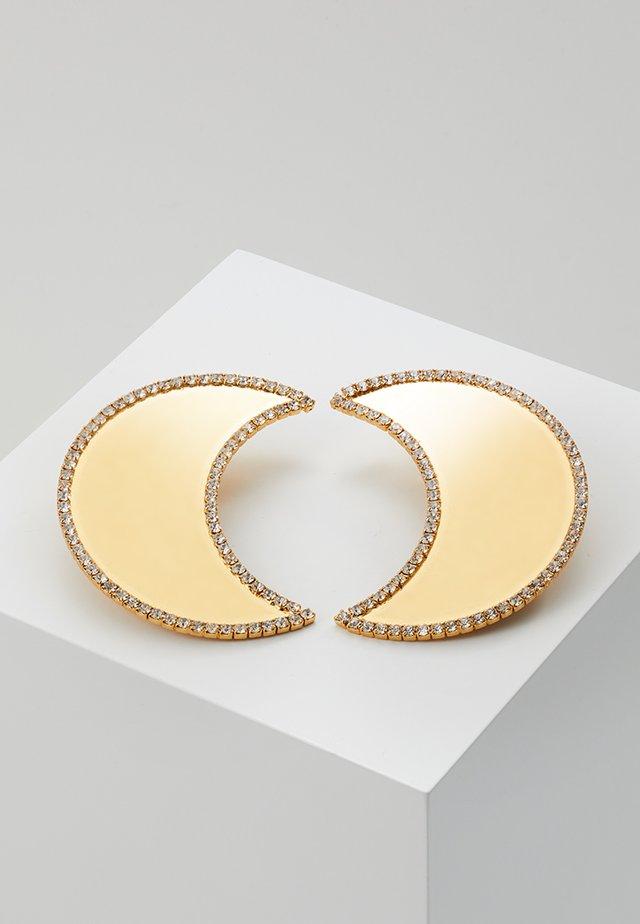 CELESTIAL CRESCENT MOON EARRING - Örhänge - shiny brass/crystal